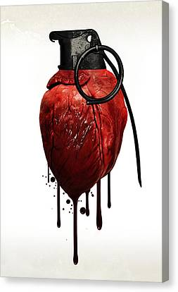 Heart Grenade Canvas Print by Nicklas Gustafsson