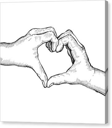 Doodle Art Canvas Print featuring the drawing Heart Hands by Karl Addison