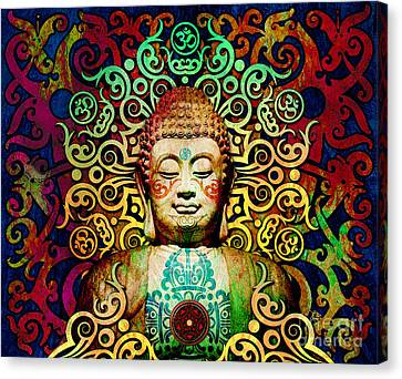 Heart Of Transcendence - Colorful Tribal Buddha Canvas Print by Christopher Beikmann