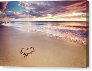 Heart On The Beach Canvas Print by Elusive Photography