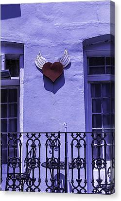 Heart On Wall Canvas Print by Garry Gay