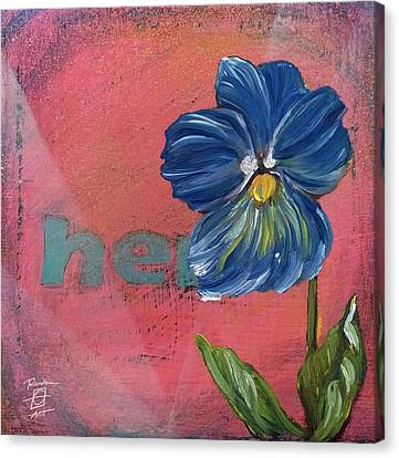 Heart Pansy Canvas Print by Andrea LaHue