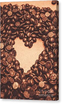 Hearts And Chocolate Drops. Valentines Background Canvas Print by Jorgo Photography - Wall Art Gallery
