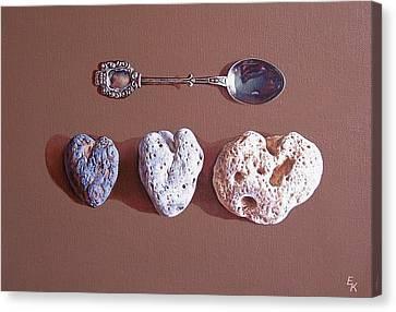 Hearts Of Three Canvas Print by Elena Kolotusha