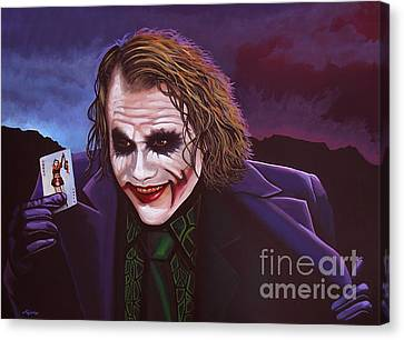 Heath Ledger As The Joker Painting Canvas Print by Paul Meijering