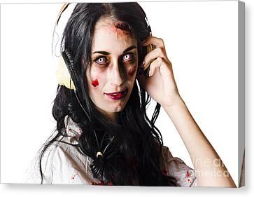 Heavy Metal Zombie Woman Wearing Headphones Canvas Print by Jorgo Photography - Wall Art Gallery