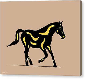 Heinrich - Pop Art Horse - Black, Primrose Yellow, Hazelnut Canvas Print by Manuel Sueess