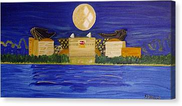 Heinz Field Casting Three Rivers Shadow Canvas Print by Michele Moore