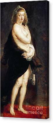 Helena Fourment In A Fur Wrap Canvas Print by Rubens