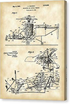 Helicopter Patent 1940 - Vintage Canvas Print by Stephen Younts