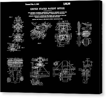 Helicoptor Patent 1932 Black Canvas Print by Bill Cannon