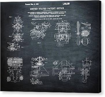 Helicoptor Patent 1932 Chalk Canvas Print by Bill Cannon