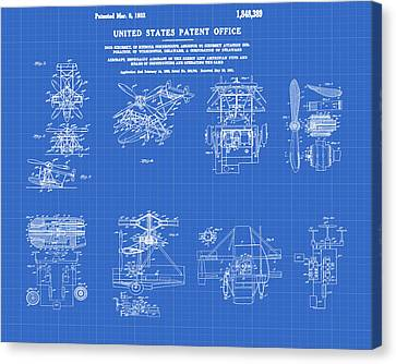 Helicoptor Patent 1932 Red Blueprint Canvas Print by Bill Cannon