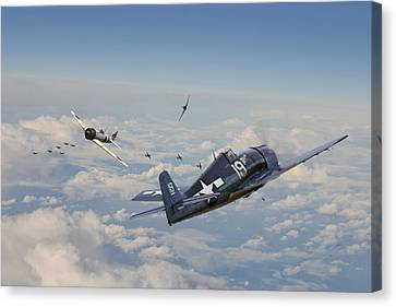 Hellcat F6f - Duel In The Sun Canvas Print by Pat Speirs