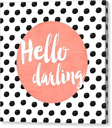 Hello Darling Coral And Dots Canvas Print by Allyson Johnson