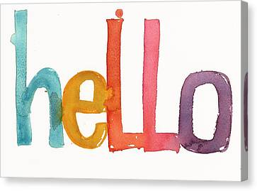 Hello Lettering Canvas Print by Gillham Studios