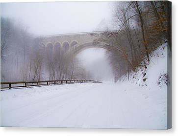 Henry Avenue Bridge And Lincoln Drive In The Snow Canvas Print by Bill Cannon