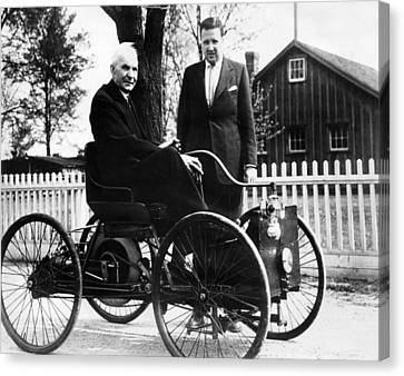 Henry Ford Sits In His First Ford Car Canvas Print by Everett