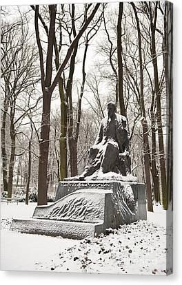 Henryk Sienkiewicz Monument In Winter Canvas Print by Arletta Cwalina