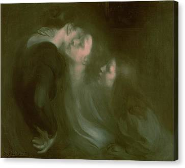 Her Mother's Kiss Canvas Print by Eugene Carriere