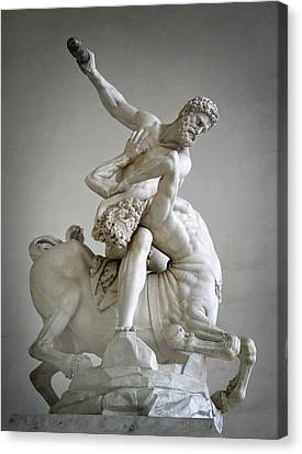 Hercules And Centaur Sculpture Canvas Print by Artecco Fine Art Photography
