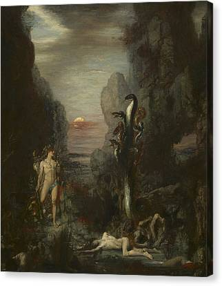 Hercules And The Lernaean Hydra Canvas Print by Gustave Moreau