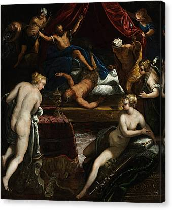 Hercules Expelling The Faun From Omphale's Bed Canvas Print by Tintoretto