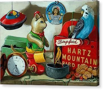 Here Birdie Birdie Canvas Print by Linda Apple