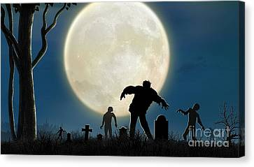 Here Comes The Zombies Canvas Print by Bedros Awak
