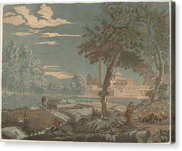 Heroic Landscape With Cart And Goatherd - With San Giorgio Maggiore In The Background Canvas Print by John Baptist Jackson After Marco Ricci