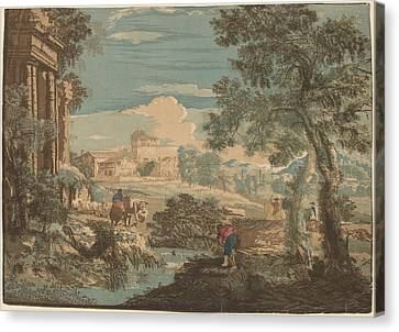 Heroic Landscape With Fisherman - Cows - And Horsemen Canvas Print by John Baptist Jackson After Marco Ricci