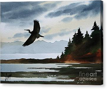 Heron Silhouette Canvas Print by James Williamson