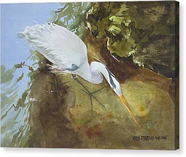 Heron Under The Bridge Canvas Print by Kris Parins