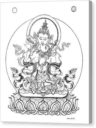 Heruka-vajrasattva -buddha Of Purification Canvas Print by Carmen Mensink