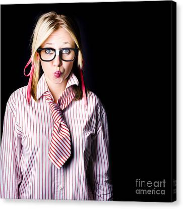 Hesitant Uncertain Smart Business Girl On Black Canvas Print by Jorgo Photography - Wall Art Gallery