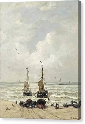 Het Laden Van De Netten Canvas Print by Hendrik Willem Mesdag