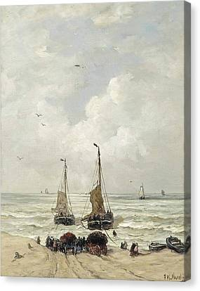 Het Laden Van De Netten Canvas Print by Hendrik Willem