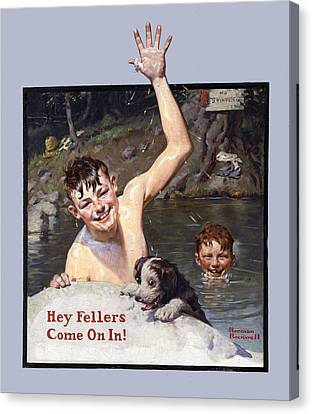 Hey Fellers Come On In Canvas Print by Norman Rockwell