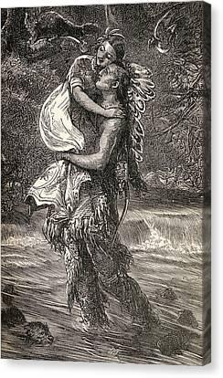 Hiawatha And Minnehaha Canvas Print by Unknown
