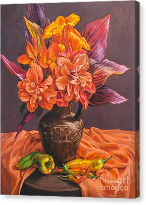 Hibiscus And Cannas In Balinese Jug Canvas Print by Fiona Craig
