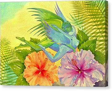 Hibiscus Faeries Canvas Print by Jennifer Baird