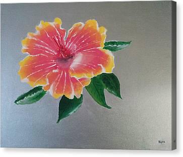 Hibiscus Flower Canvas Print by Nura Abuosba