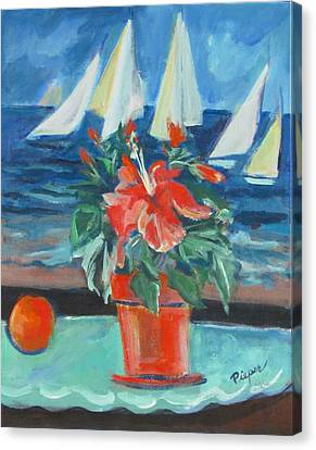 Hibiscus With An Orange And Sails For Breakfast Canvas Print by Betty Pieper