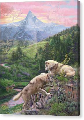 Hidden Wolves Canvas Print by Lucie Bilodeau