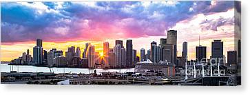 Hiding The Light Panoramic Miami Canvas Print by Rene Triay Photography