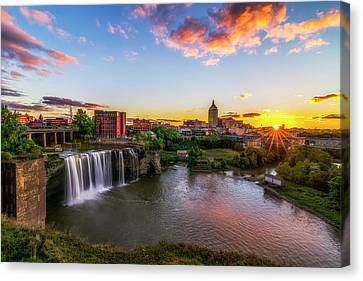 High Falls Rochester Ny Canvas Print by Mark Papke