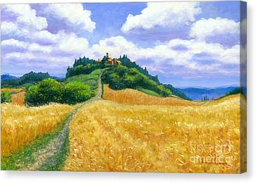 High Noon Tuscany Oil On Canvas Canvas Print by Michael Swanson