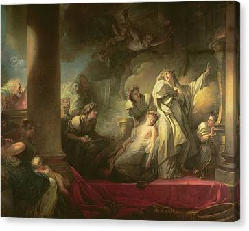 High Priest Coresus Sacrificing Himself To Save Callirhoe Canvas Print by Jean-Honore Fragonard