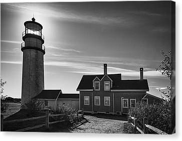 Highland Lighthouse Bw Canvas Print by Joan Carroll