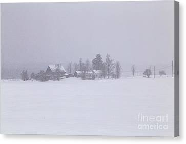 Highland Road Barn In The Snow Canvas Print by Benjamin Williamson